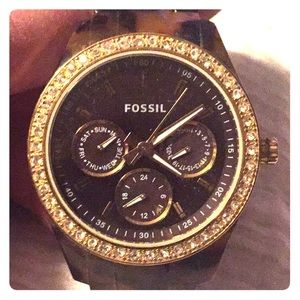 Fossil tortoise band and face watch. Works